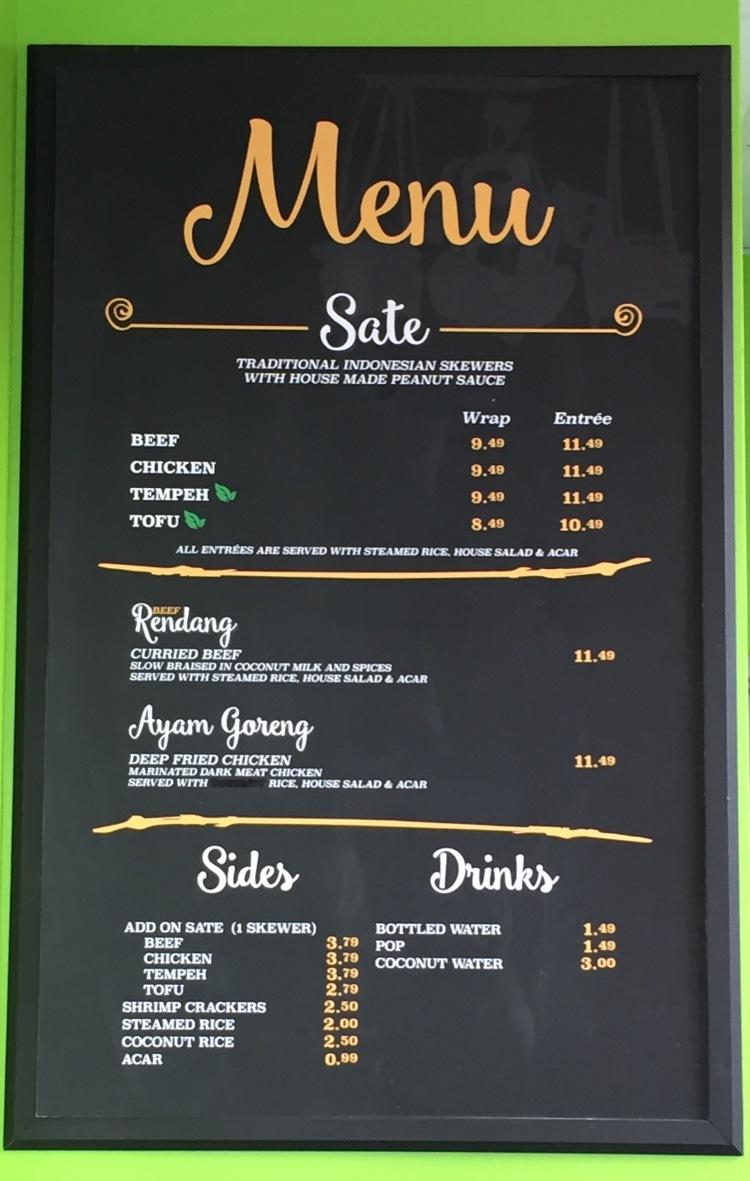 Satay sate menu